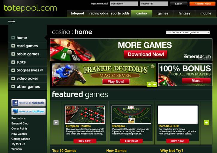 Totesport casino screenshot