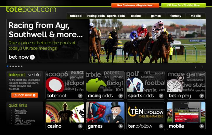 Totesport sports betting screenshot