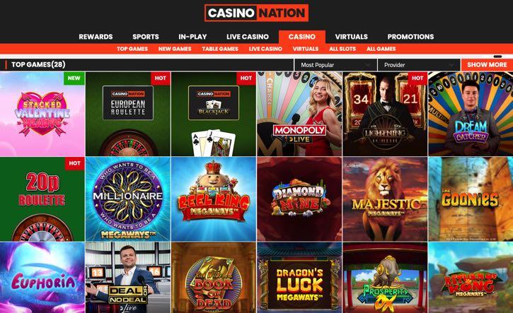 SportNation casino screenshot