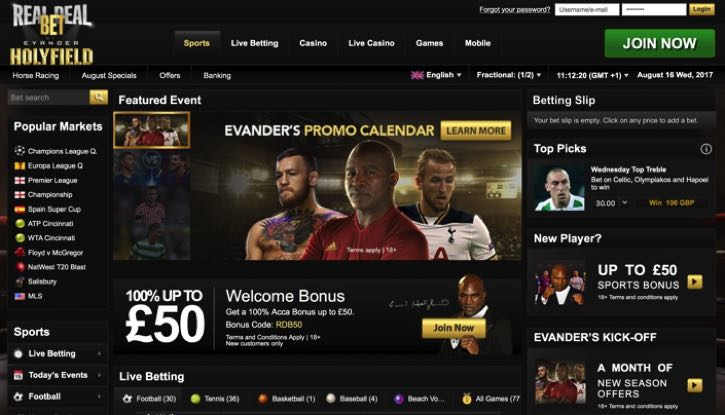 RealDealBet sports screenshot