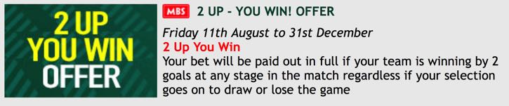 PaddyPower 2 Up You Win offer