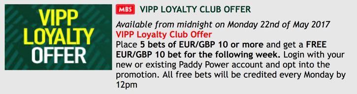 PaddyPower VIPP Loyalty Club promo banner